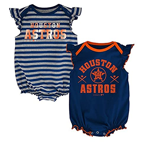 MLB Houston Astros Infant Girls 2Pk Creeper-18 Months (Houston Astros Baby Set)