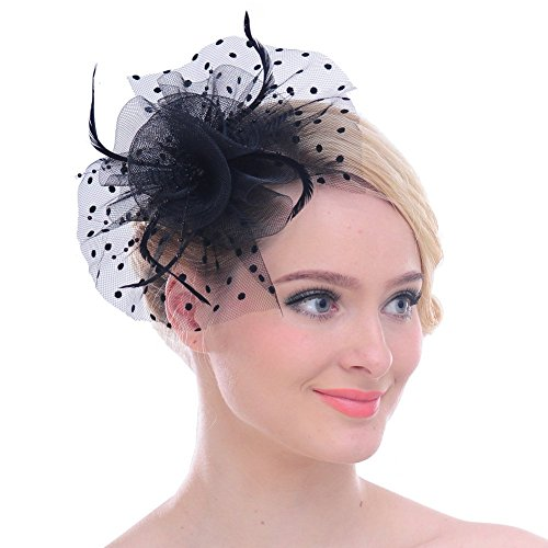 Fascinators Sinamay Hats for Women for Tea Party Kentucky Derby Wedding Cocktail Mesh Feathers Hair Clip Black