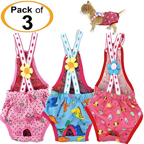 FunnyDogClothes Pack of 3 Colors Dog Diapers Female Girl Sanitary Pants Washable Reusable with Suspenders Stay On for Small Pet (Pink-Blue-Hot Pink, L - Waist 14