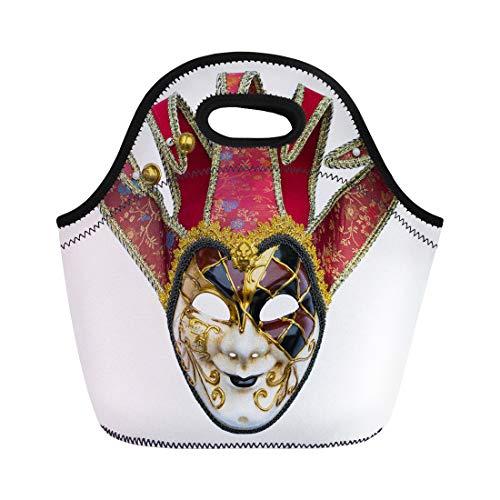 Semtomn Lunch Tote Bag Venetian Joker Mask Bells Carnival Costume Disguise Face Gold Reusable Neoprene Insulated Thermal Outdoor Picnic Lunchbox for Men Women