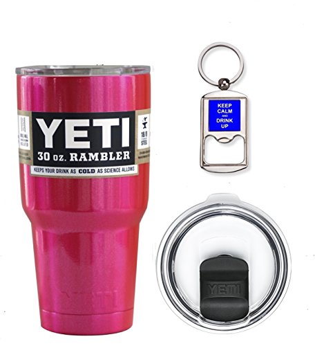 YETI Coolers 30 Ounce (30oz) (30 oz) Custom Rambler Tumbler Cup Mug Bundle with New Magslider Lid (Pink Shimmer)