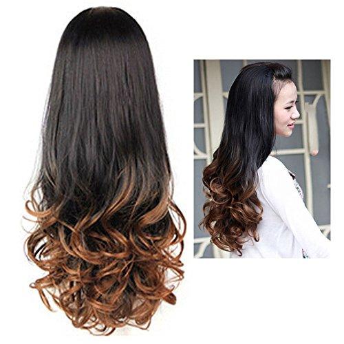 YOOYOO Women Long Curly Wavy Half Hair Wigs Heat Resistant Gradient Color Beauty Style (BROWN) (Deluxe Brown Dreadlock Wig)