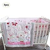 Luerme Baby Girls Pink Little Bunny Crib Bedding Set Baby Crib Bedding Sets Girl Boy Nursery Crib Bumper Pad Baby Crib Bedding Set Nursery 100% Cotton