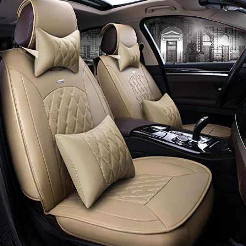 (Skysep Beige Full Set Universal Fit 5 Seats Car Surrounded Solid Color Waterproof Leather Car Seat Covers Protector Adjustable Removable Auto Seat Cushions with 2 Waist Pillows 2 Headrest Pillows )