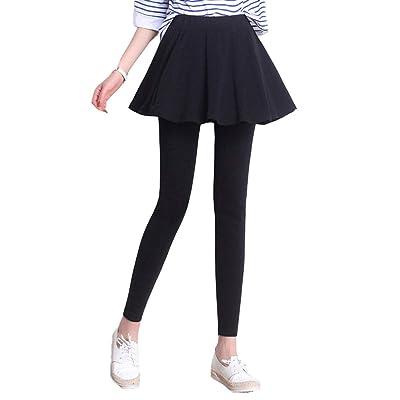 Leggings Elásticos De Cintura Alta para Mujer, Falda Plisada + Pantalones, Diseño Falso De Dos Piezas, Se Puede Usar Afuera, Suave Y Delicado, Ajuste Cómodo,Negro,XXXL: Deportes y aire libre