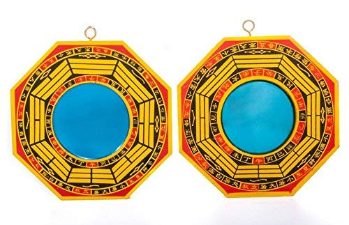 DMtse 4 Inch Bagua Mirror Set of 2 for Protection; One Concave Mirror for Protection Against Passive Negative Energy & One Convex Mirror for Protection Against Active Harmful Energy ()
