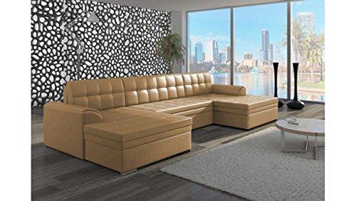 divano angolare design color senape in pelle.