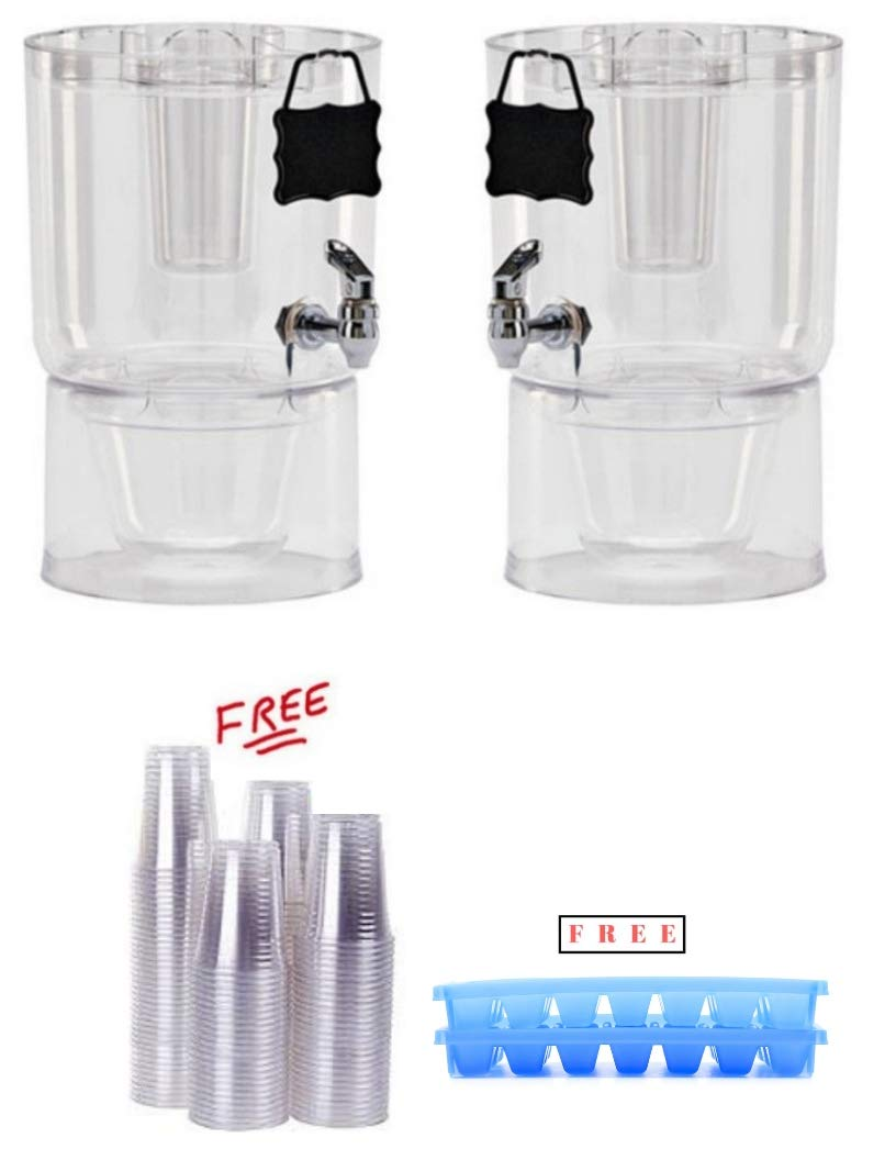 Pack of 2 Buddeez 14401C-ONL Party Top New Beverage Dispenser, 1.75 gallon, Clear with FREE!