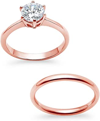 Stainless Steel Prong-Set Round Comfort Fit Engagement Ring with Clear CZ