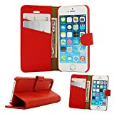 Belfen Full Grain Genuine Leather Flip Wallet case with Stand Feature,Credit Card Slots,Inner Pocket- for Apple iPhone 5 /5S /SE - Red