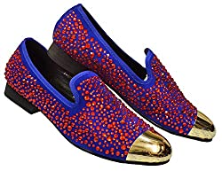 Red Crystal On Leather With Rhinestones Loafer