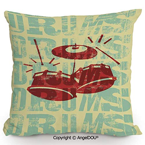 AngelDOU Nice Cotton Linen Pillowcase with core,Groovy Drumming Poster Design Percussion Rock Music Instrument Play Vibe Hit,Sofa Car Chair Lumbar Bed Pillow Waist Cushion.19.6x19.6 inches