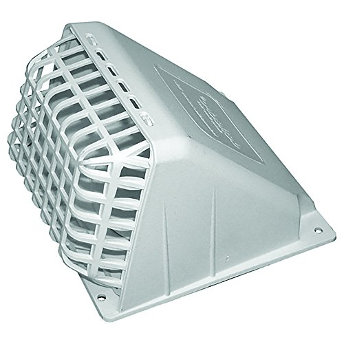 (Deflecto Wide Mouth Dryer Vent Hood with Removable Bird Guard, Damper, Weather-Resistant, 4 Inches Hood, White (HR4W))