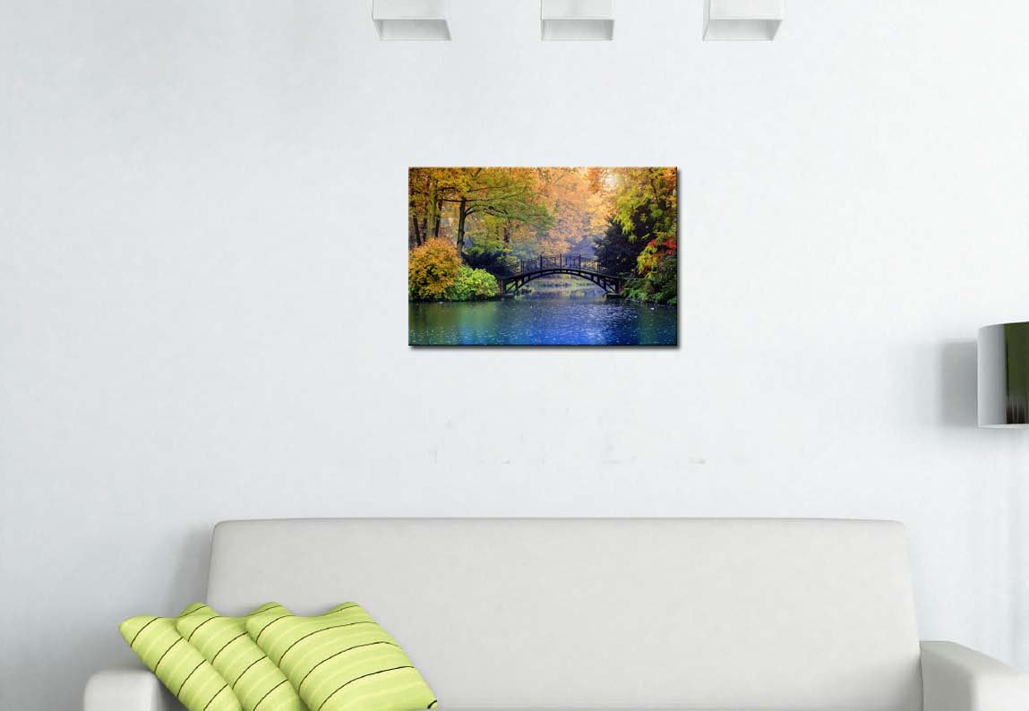 Wall Art Decor Poster Painting On Canvas Print Pictures Old Bridge Over Blue Lake In Autumn Misty Park With Colourful Trees Landscape Forest/&Lake Framed Picture For Home Decoration Living Room Artwork My Easy Art 590333