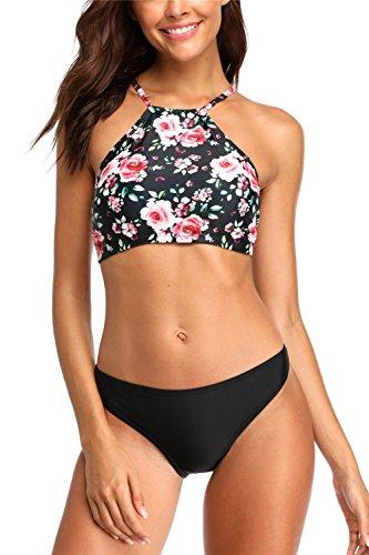 (ALove Floral Bikini Tops for Women High Neck 2 Piece Swimwear Bikinis Large)