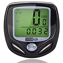 Bike Computer, Speedometer Wireless Water-proof Bicycle Odometer Cycling Stopwatch Mult Function with Large LCD Display by SOONGO