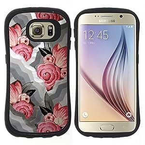 "Hypernova Slim Fit Dual Barniz Protector Caso Case Funda Para Samsung Galaxy S6 [Ondas Modelo blanco floral rosado""]"