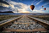 Yeele Hot Air Balloon Backdrops 7x5ft/2.2 X 1.5M Mountains Fire Balloon Sunset Sunrise Rail Outdoor Scene Pictures Adult Artistic Portrait Photoshoot Props Photography Background Wallpaper