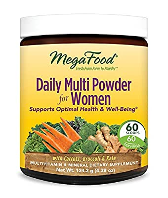 MegaFood, Daily Multi Powder for Women, All-in-One Whole Food Multivitamin and Dietary Supplement with Iron and Vitamin D, Vegetarian, Gluten Free, Non-GMO, 60 Servings (4.38 oz)
