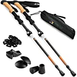 Ryno Tuff Trekking Poles, Durable 7075 Aluminum Hiking Pole with Natural Cork Handles and Extended EVA Grips, Ultralight, Expandable, Collapsible and Foldable, Set of 2 Walking Sticks