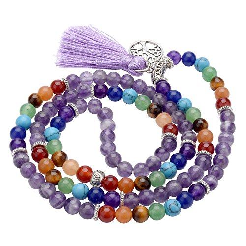 Top Plaza 7 Chakra Buddhist Mala Prayer Beads 108 Meditation Healing Multilayer Bracelet/Necklace W/Tree of Life Tassel Charm(Amethyst) Buddhist Mala Beads