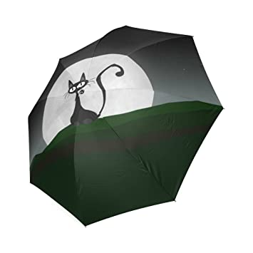 Customized único gato con luna fondo plegable lluvia sombrilla/paraguas de sol