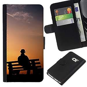 KLONGSHOP // Tirón de la caja Cartera de cuero con ranuras para tarjetas - Banco de parque Hombre - Samsung Galaxy S6 EDGE //
