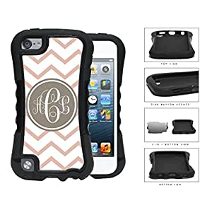 Coral And White Chevron With Tan Monogram (Custom Initials) 2-Piece Dual Layer High Impact Rubber Silicone Case Cover Apple iPod