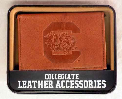 (Rico Industries NCAA South Carolina Fighting Gamecocks Embossed Leather Trifold Wallet, Tan)