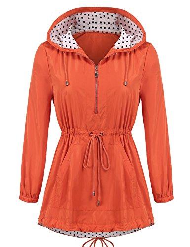 ELOVER Women's Zip Lightweight Hooded Waterproof Outdoor Rain Jacket Orange (Orange Raincoat)