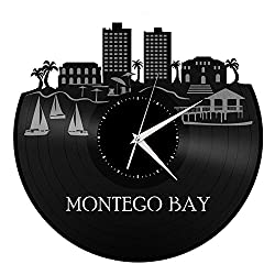 VinylShopUS Montego Bay Jamaica Vinyl Wall Clock Skyline Retro Record Capital of Parish | Unique Gift for Men Women Ideas | Home Decorative Decor