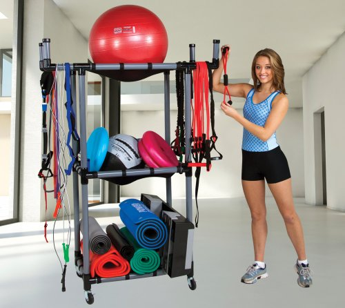 Power Systems Multi-Purpose Mobile Rack for Fitness Studios, 47 x 22 x 70 Inches, Black/Gray (92595)