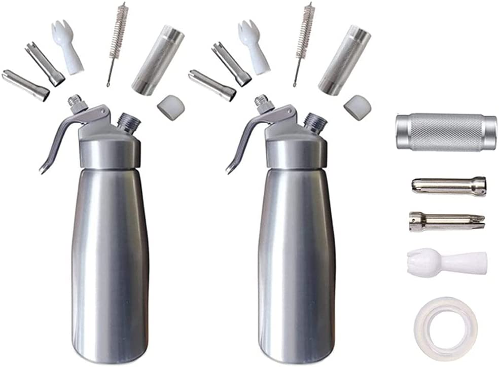 2 Silver And Replacement Kit Whipped Heavy Cream Coffee Dispenser Home Brew Refill Kit