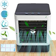Mini Air Conditioner, APUPPY Portable Misting Fan With Filter, Personal Air Cooler, Cool Humidifier, USB Desk Fan, Mini Desktop Table Fan with 3 Wind Speeds, Perfect for Home Bedroom Dorm Office