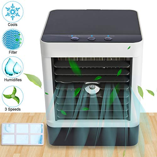 Mini Air Conditioner, APUPPY Portable Misting Fan With Filter, Personal Air Cooler, Cool Humidifier, USB Desk Fan, Mini Desktop Table Fan with 3 Wind Speeds, Perfect for Home Bedroom Dorm Office (Cool Mini Air Conditioner)