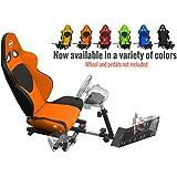 Openwheeler GEN2 Racing Wheel Stand Cockpit Orange on Black | Fits All Logitech G29 | G920 | All Thrustmaster | All Fanatec Wheels