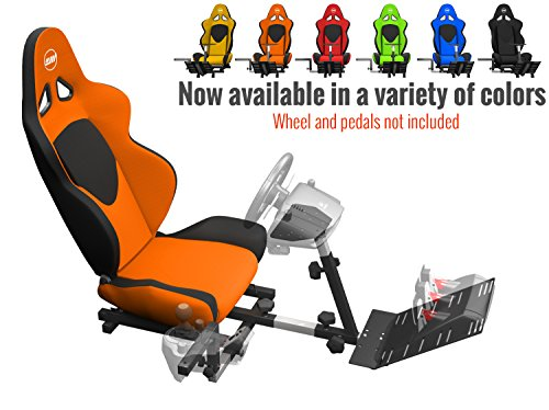 Openwheeler GEN2 Racing Wheel Stand Cockpit Orange on Black | Fits All Logitech G29 | G920 | All Thrustmaster | All Fanatec Wheels