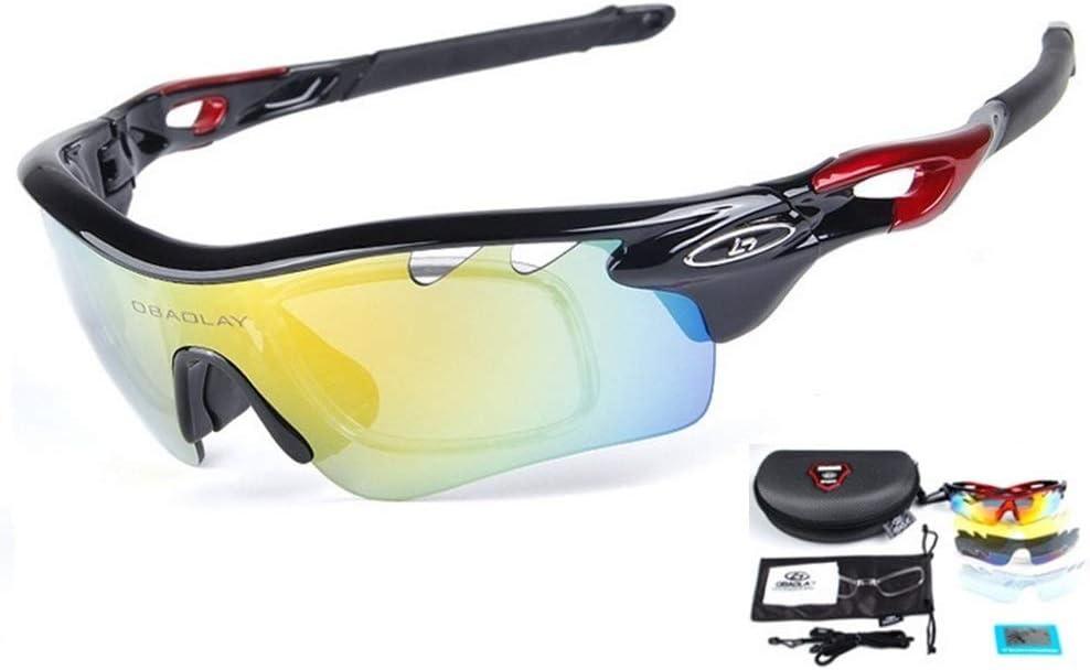 Runspeed Polarized Sports Sunglasses Cycling Sun Glasses with 5 Interchangeable Lenes UV400 for Men Women Running Hiking Biking Baseball Fishing Golf Driving