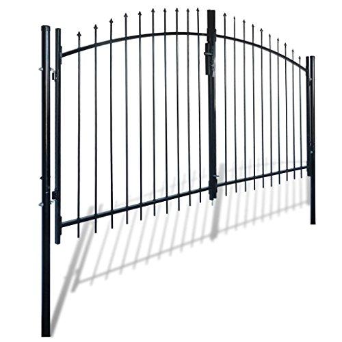 Daonanba Decorative Garden Gate Heavy Duty Door Fence Gate with Spear Top Practical Durable Barrier Double Door 10' x 6' by Daonanba
