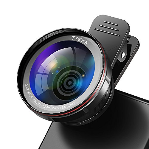 Tycka Phone Camera Lens kit pro, 120° 0.4X no Distortion Wide Angle Lens, 15X Marco Lens, Portable case and Microfiber Cleaning Cloth for iPhone Samsung Sony