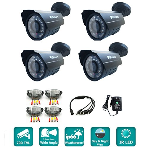 Ir Infrared Security Color Video (iSmart 4-pack 700TVL Color CCTV Camera Security System Kit, Weatherproof Outdoor IP66, 3.6mm Lens C1030DP7)