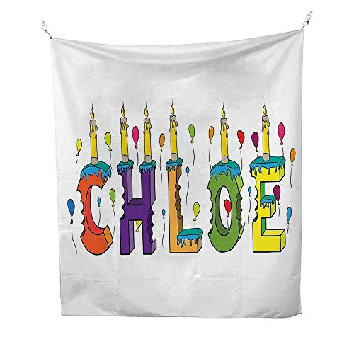 ChloetapestryLettering with Cheerful Bitten Cake Candles Girly Birthday Party Design First Name 40W x 60L inch Wall tapestryMulticolor -