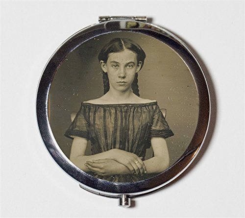 Daguerreotype Girl Compact Mirror Pocket Size for Makeup Cosmetics Antique Victorian Photo
