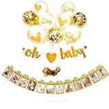 EasyPartyTime Baby Shower Decorations ''OH BABY'' Strung Banner, 9pcs Balloon Set(Gold, Confetti, White) & Monthly Milestone Photo Banner for Newborn, Pregnancy Announcement & One Year Old Celebration