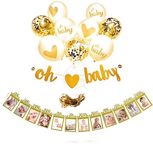 EasyPartyTime Baby Shower Decorations ''OH BABY'' Strung Banner, 9pcs Balloon Set(Gold, Confetti, White) & Monthly Milestone Photo Banner for Newborn, Pregnancy Announcement & One Year Old Celebration -