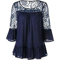 ღ Ninasill ღ Chiffon 3/4 Sleeve Frill Tops Ladies Flowers Lace Shirt (S, Blue)