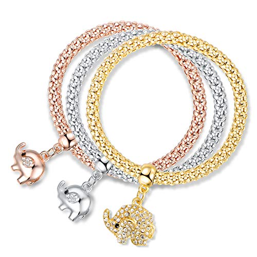 Barzel 18K Gold Plated Tri-Gold Charm Stretch Bracelets 3 Piece Set (Elephants)