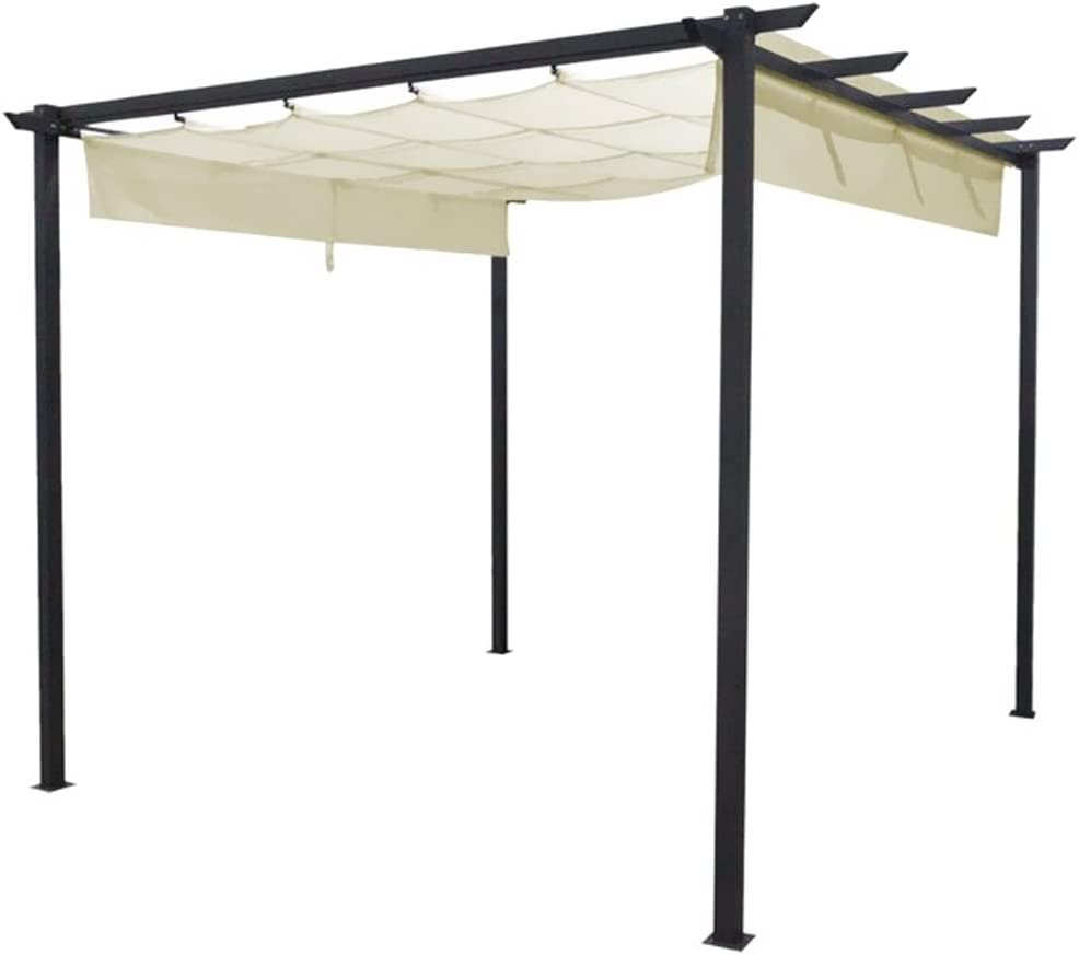 BAKAJI Pergola cenador Estructura de Metal Enrejado con Toalla Plegable de Tela para jardín y terraza X 3 X 3 MT Color Antracita Y Crema: Amazon.es: Jardín
