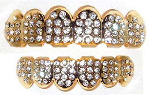 Hip Hop 14K Gold Plated Removeable Mouth Grillz Set (Top & Bottom) Pimp Daddy Big Dawgs Bling 1318