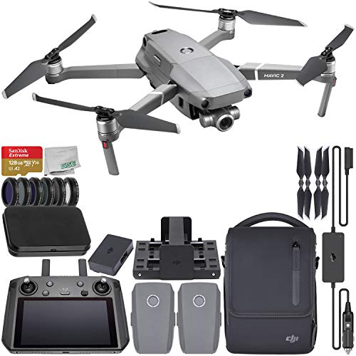 DJI Mavic 2 Zoom Foldable Quadcopter with DJI Smart Controller & Fly More Kit Starter Bundle